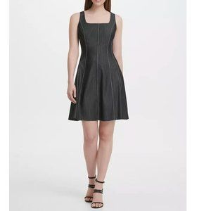 DKNY Square Neck Denim Fit and Flare Dress Size 6